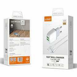 KUĆNI PUNJAČ BRZI 2 U 1 LDNIO A2219 2*USB(5V, 2.4 A) MIKRO
