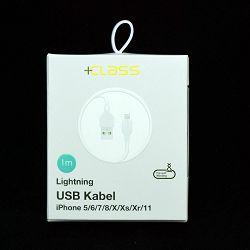 USB KABEL +CLASS ZA APPLE IPHONE 5/6/7/8/X/XS/XR/11 HQ 1 m BIJELI