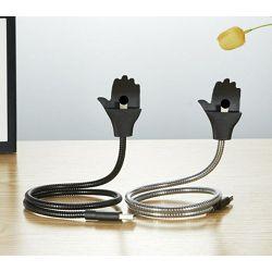 METALNI USB KABEL S DRŽAČEM ZA MOBITEL IPHONE 5, 6, 7 KONEKTOR SREBRNI