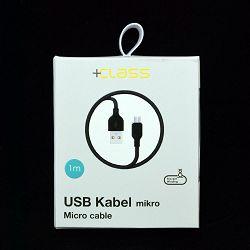 USB KABEL +CLASS MIKRO, USB NA MIKRO 1 m CRNI