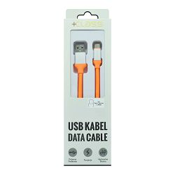 USB KABEL +CLASS TIP C SILIKONSKI, USB NA TIP C DUŽINE 1.2 m NARANČASTI