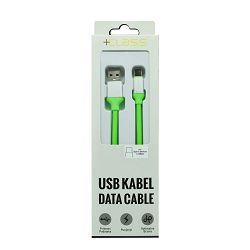 USB KABEL +CLASS TIP C SILIKONSKI, USB NA TIP C DUŽINE 1.2 m ZELENI