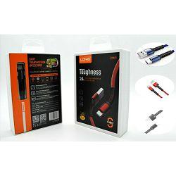 USB KABEL LDNIO LS63 2.4 A MAX, 1 m IPHONE 5 CRVENI