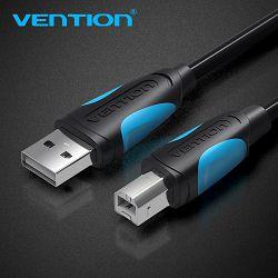 USB KABEL ZA PRINTER MUŠKI USB-B 2.0 NA USB-A VENTION 3 m VAS-A16-B300 CRNI