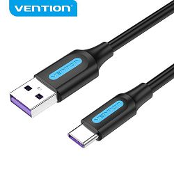 USB KABEL MUŠKI 2.0 NA TIP C MUŠKI 5A VENTION 0.5 m CORBD PVC CRNI