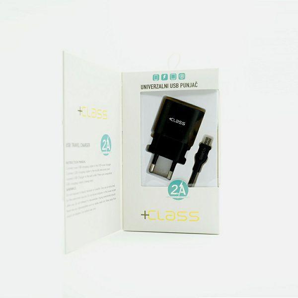 KUĆNI PUNJAČ +CLASS USB 2.1A+USB KABEL MIKRO CRNI