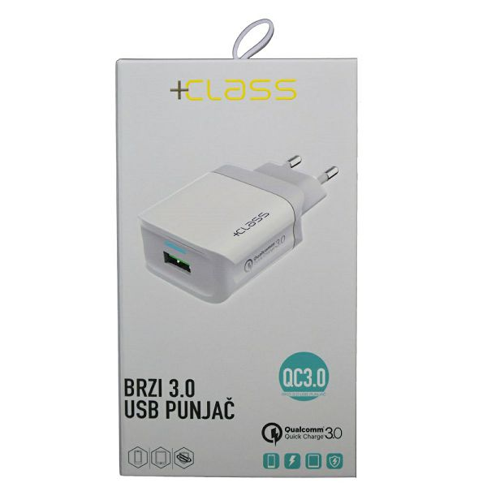 KUĆNI PUNJAČ +CLASS USB QC 3.0 FAST+USB KABEL TIP C BIJELI