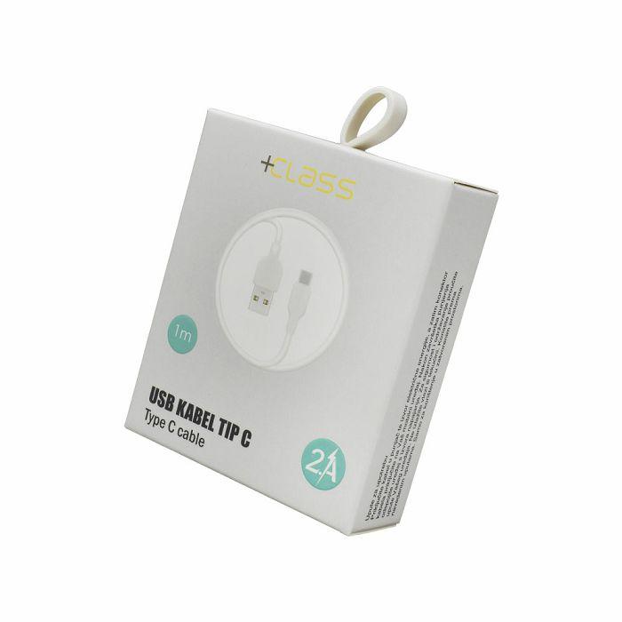 USB KABEL +CLASS TIP C, USB NA TIP C DUŽINE 1 m BIJELI