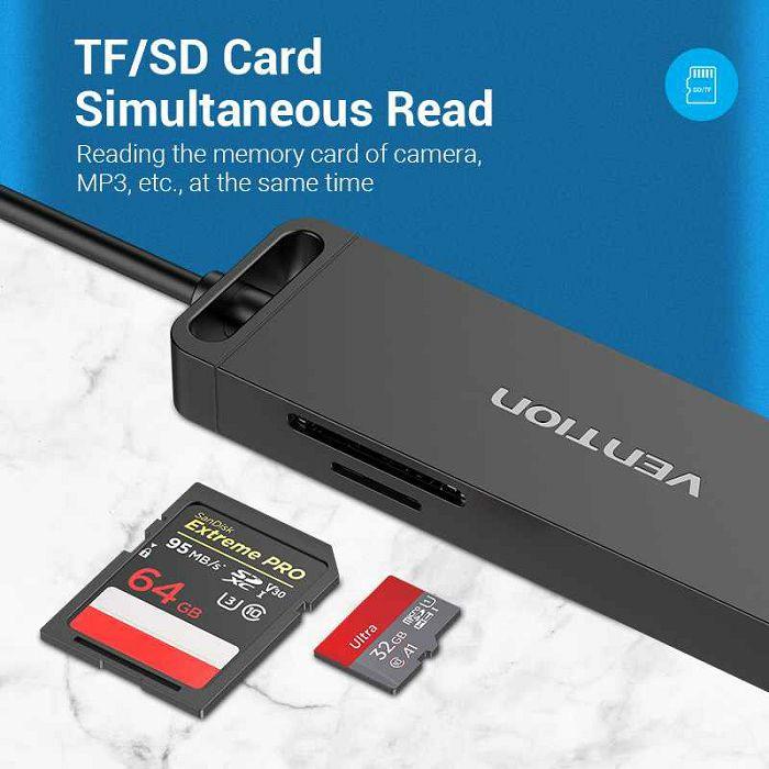 HUB USB MUŠKI 3.0 NA 3* USB 3.0, SD, MIKRO VENTION 0.15 m CHVBB CRNI